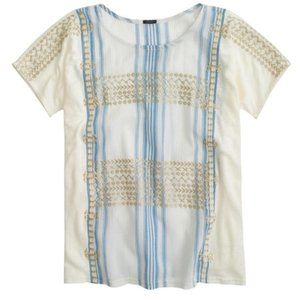 *J. CREW* White Striped Embroidered Short Sleeve
